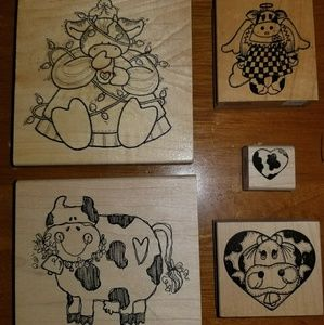 Cute cow rubber stamps